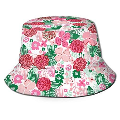 DDOBY Frühlingsblumen Botanische Blumen Natur Frische Blüten Grün Rot Eimer Hut Wende Fischer Kappe Packbar Sommer Sonnenschutzkappe für Frauen Männer -