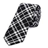DonDon Herren Krawatte 6 cm kariert gestreift schwarz-weiß
