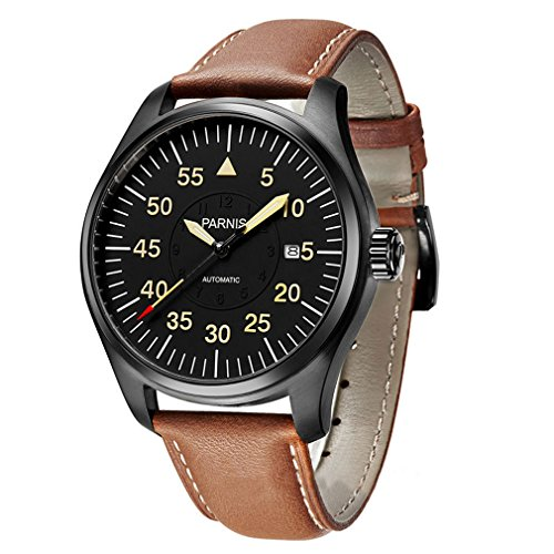 44mm parnis conciso estilo dial negro pvd caso moyota–reloj automático de hombre