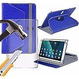 Spyrox - HP Slate 8 Pro (9 inch) Tablet- Hülle PREMIUM PU 360 Rotierende Leder-Brieftasche Folio Faux 4 Springs Stand mit gehärtetes Glas LCD-Display Schutzfolie -Blue
