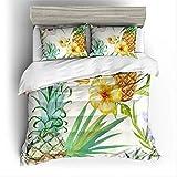 BEDSETAAA 3D-Aquarell Ananas Bettwäsche Set gedruckt vierteilige Heimtextilien verkauft gut 200x200cm Grau