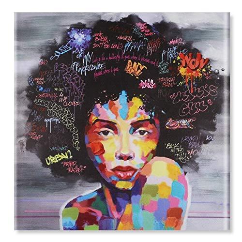 Raybre Art® Kein gerahmtes Leinwand-Druck-Anstrich Abstrakte afrikanische indische Frauen mit offenen Augen Moderne Farben-Ölgemälde für Kunst-Wand-Dekor Haus-Wohnzimmer 50 x 50cm -