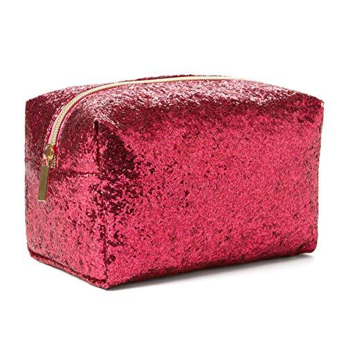 Tri-Coastal Design - Pochette Porta Trucchi Glitter - Perfetta per Contenere il Make-Up o da Usare come Astuccio o Borsina da Viaggio Portatutto - Glitterata Fucsia