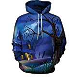 Beginfu Männer Frauen Modus 3D Print Langarm Halloween Paare Hoodies Bluse Hip Hop Sweatshirt Pullover Oberteil Cartoon Fashion Party Cocktail Winter Unheimliche Halloween Geister Party Tops