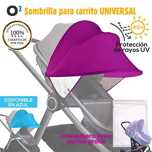 Sombrilla Carrito Bebe Universal Con Mosquitera Carro Bebe Universal - Sombrilla Carrito Bebe - Toldo Para Carrito/Silla De Paseo - Parasol Carrito Bebe (Morado)