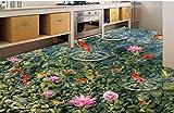 Xcmb murale salon De Haute Qualité PVC stickers Carrelage Revêtements De Sol En Vinyle Sur Mesure Adhésifs Goldfish Encre Jade 3D Peintures Murales De Papier Peint Étages Cuisine-300Cmx210Cm