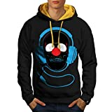 Headphone Skull Face Clown Nose Men NEW Black (Gold Hood) S-2XL Contrast Hoodie | Wellcoda