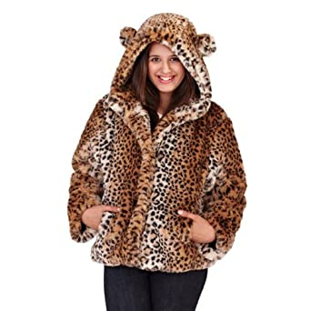 WOMENS LADIES LUXURY FAUX FUR COAT SHORT HOODED JACKET ANIMAL