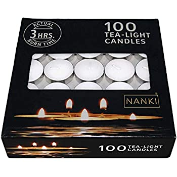Nanki Trades Wax Tealight Candles (White, Unscented, Set of 100, 3 Hours Burn Time)