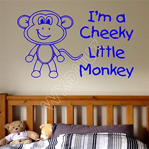 zhuziji Wxduuz Cheeky Little Monkey Mädchen Jungen Kinder Kinder Zitat Home Wall Decal Aufkleber Cartoon Wandaufkleber Home Decor Wa 88A-3 50 x 85 cm