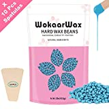 Hard Wax Beans for Sensitive Skin, Brazilian Hair Removal kit for Full Body, Face, Eyebrows, Underarm, Leg, Back, Depilatory Wax Beads Kit at Home, 15.9Oz,with 10pcs Wax Spatulas,Chamomile Flavour