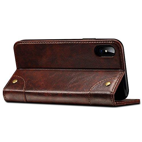 iPhone X coque, Belk Rétro Vintage flip coque de téléphone en cuir [Béquille] [Slot pour carte] [Fermeture magnétique] baroque classique snap pour iPhone X café