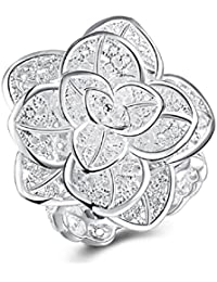 Silver Plated Jewelry Ring Fine Nice Big Flower Ring For Women & Girls By UC