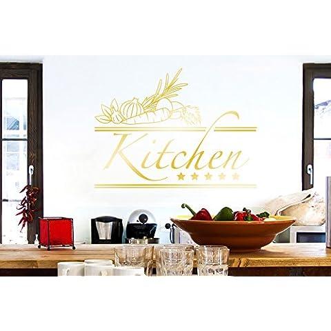 Five Star Kitchen Sign Vinile Adesivi Murali Decals - Medio (Altezza 42cm x Larghezza 57cm) Oro Lucente - 42 Sign
