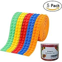 BREEZO Autoadesiva Nastro, Fascia 5PCS Riutilizzabile in Silicone Adesivo Brick Building Block, compatibile con la costruzione della raccolta di Lego – 5 Colori