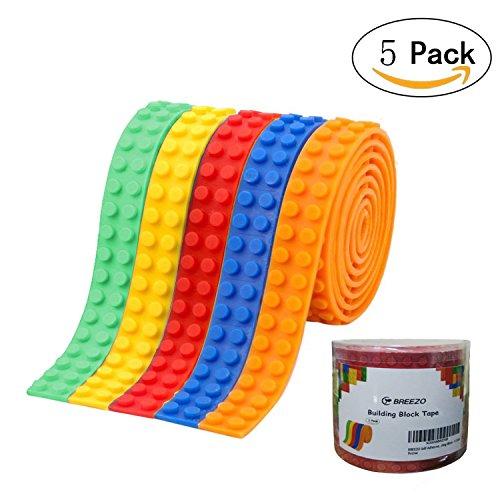 BREEZO Silikon Selbstklebend Baustein 5 Stück Wiederverwendbar Klebeband, Kompatibel für Lego Bausets, Pädagogisches Spielzeug zum Anregen der Vorstellungskraft (Rot+Grün+Gelb+Orange+Blaurot)
