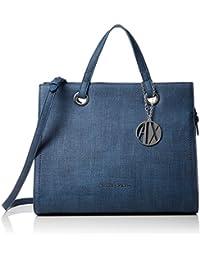 ARMANI EXCHANGE Texturized Tote Bag - Borse a secchiello Donna, Blu (Denim), 27.0x15.0x32.0 cm (B x H T)