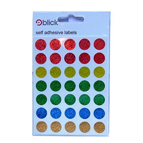 Blick holographische Kreis Etiketten - 13mm Kreis - 70 pro Packung - 5 Farben