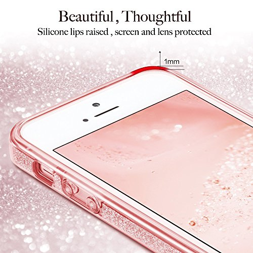 Coque iPhone SE Rose, ESR iPhone 5s / 5 / SE Coque Paillette Strass Brillante Bling Bling Glitter de Luxe, Housse Etui de Protection Silicone [Ultra Fine] [Anti Choc] pour Apple iPhone 5 / 5 S / SE 4  Or Rose