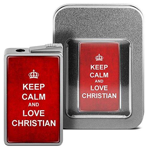 Feuerzeug mit Namen Christian - personalisiertes Gasfeuerzeug mit Design Keep Calm - inkl. Metall-Geschenk-Box 2
