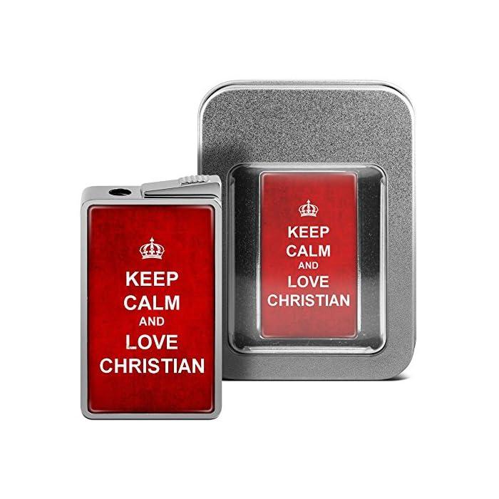 printplanet Feuerzeug mit Namen Christian - personalisiertes Gasfeuerzeug mit Design Keep Calm - inkl. Metall-Geschenk-Box
