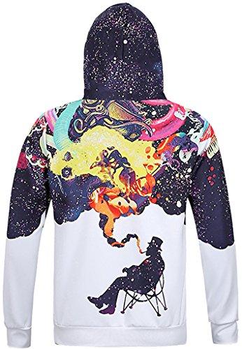 Pizoff Unisex Hip Hop Sweatshirts druck Kapuzenpullover mit Bunt 3D Digital Print Y1760-03