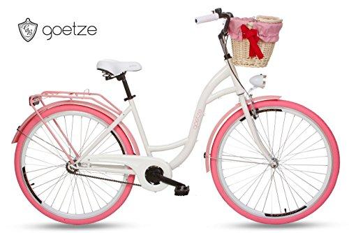 Goetze Colours 26 Zoll 1-Gange, Fahrrad, Citybikes, Stadtrad, Retro, Vintage, Cityrader, Damenfahrrad (Weiß - Rosa)