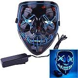 Angel ZYJ Halloween Maske LED Light EL Wire Cosplay Maske Purge Mask für Festival Cosplay Halloween Kostüm (Bleu)