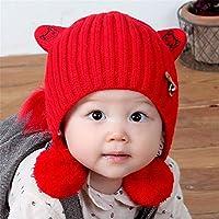 ETMAAA Gehörschutz Hängen Ball Kinder Wollmütze Kreative Kinder Strickmütze Herbst Und Winter Baby Mütze