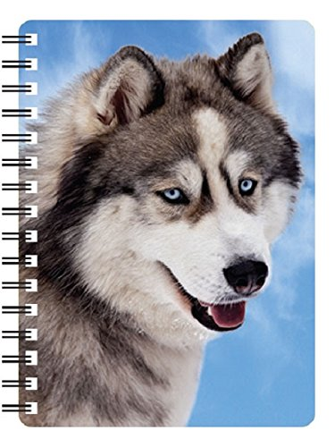 SIBERIAN HUSKY 3D (style 2) NOTEBOOK WITH STUNNING EFFECTIVE 3 DIMENSIONAL COVER AND RULED PAGES