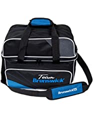 Team Brunswick Double Tote Bag de bolos Holds Shoes de Black/Cobalt by
