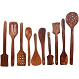 Amaze Shoppee Handmade Wooden Non-Stick Serving And Cooking Spoon Kitchen Tools Utensil, Set Of 10 - B079L7QWBR