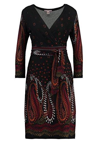 Anna Field Strickkleid mit Paisley Muster schwarz mit Braun – Minikleid mit Cache Coeur Ausschnitt, 36
