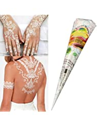 Skymore 1 Stück Tattoo Paste Kegel Cones, Henna Tattoo Temporäre Tattoo, Temporäre Tätowierung, Körperfarben Körperkunst, Tattoo sticker, Body Art Malerei Makeup Tools für Hochzeit - Weiss