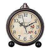 HYYQG Vintage Wecker, Kreative Einfache Metall Muster Desktop Clock Tischuhren Retro Dekoration Tischuhr Stille Quarz Europäischen Stil Wanduhr, Black