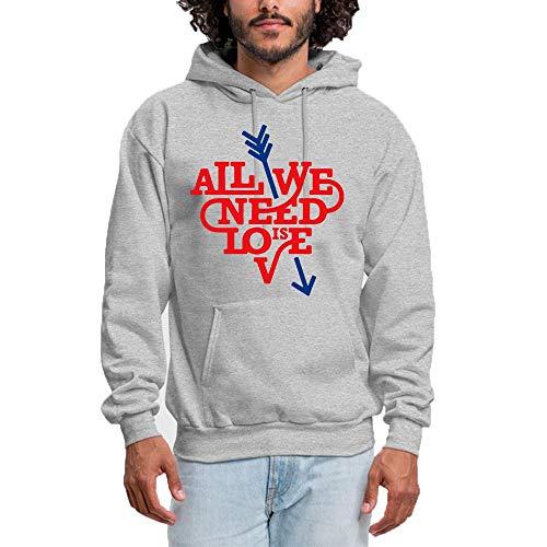SHENMAHU Men Hooded Sweatshirt All We Need is Love Logo - Pullover Hoodie, Classic & Comfortable Kapuzenpulli M Gray