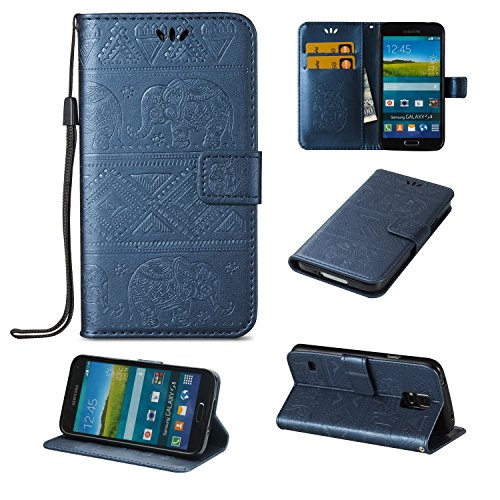 Für Samsung Galaxy S5 Premium Leder Schutzhülle, weiche PU / TPU geprägte Textur Horizontale Flip Stand Case Cover mit Lanyard & Card Bargeldhalter ( Color : Pink ) Blue