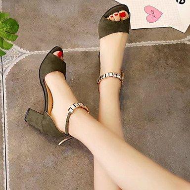 LvYuan Da donna Sandali Comoda Gomma Estate Footing Comoda Heel di blocco Nero Grigio Verde militare Rosa Meno di 2,5 cm gray