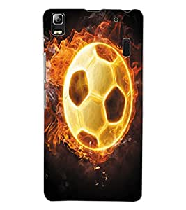 ColourCraft Flaming Football Design Back Case Cover for LENOVO A7000 PLUS