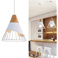 Chao Zan Lustre Moderne Simple, 25CM Suspension Luminaire Créatif Forme de Cône Cage Vintage Lampe E27 Fer et Bois…