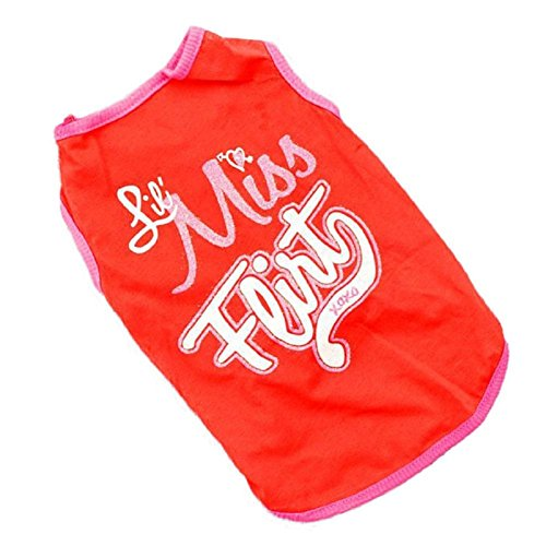 FEITONG Nouvelle arrivée Puppy Dog Pet Clothes T-shirts Vest Summer Apparel (M, Rouge)