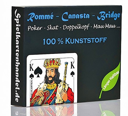 Rommee Karten, Canasta, Bridge aus 100{8e1f255e085b2e2f9eaca633358d53510e6a05e9711de8595622500eaf32ce71} Kunststoff (Plastik +) Französisches Bild, Skat Poker Mau Mau Spielkarten, wasserfest und abwaschbar