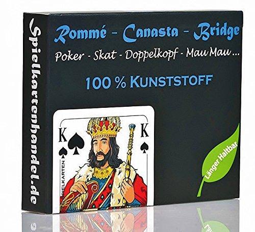 Rommee Karten, Canasta, Bridge aus 100% Kunststoff (Plastik +) Französisches Bild, Skat Poker Mau Mau Spielkarten, wasserfest und abwaschbar