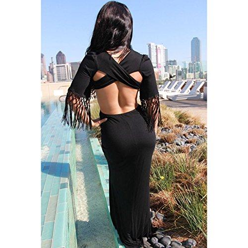 PU&PU Femmes / Cocktail Club Tassel Maxi Robe, Backless Deep V à manches courtes été Black