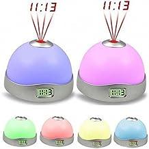 Malloom® reloj despertador proyector, nuevas 7 colores LED Cambio estrella luz de la noche mágica despertador