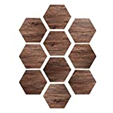 EXTSUD Set de 10pcs Autocollant de Sol Hexagonal Sticker Carrelage Effet Bois 300x20cm DIY Sticker Mural Imperméable Antidérapant pour Cusine Salle de Bain (Chêne)