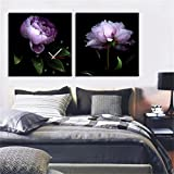 NAUY-Modern Style Canvas Painting Flowers Purple Charm Reloj de Pared en Lienzo 2pcs