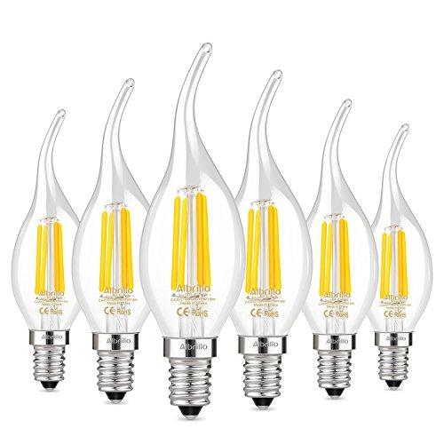 Albrillo 6er Pack LED Filament E14 CA35 Fadenlampe, E14 Glühfaden Retrofit Classic, LED Birne als Kolbenlampe, 4W 400 Lumen, Ersetzt 40W Glühlampe, warmweiß