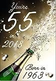 55 in 2018 Year Born Age 55 Birthday Card - 55th Male or Female - Medium Size