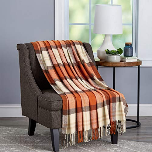 Bedford Home Oversized Vintage Look Woven Acrylic Faux Cashmere-Feel Plaid Throw - Breathable and Machine Washable (Spice Faux Cashmere